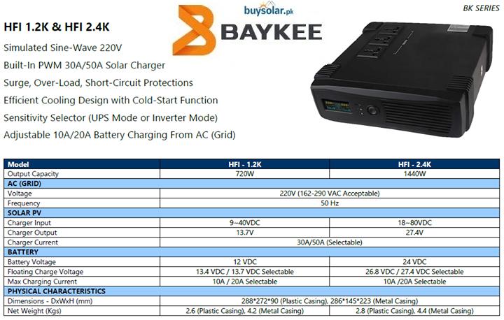 Baykee HFI 2.4KVA 24V Solar Hybrid Inverter