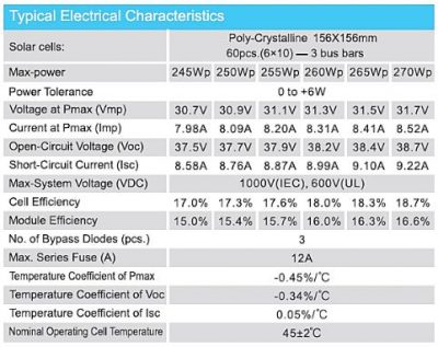 Baykee 250Wp Poly-Crystalline