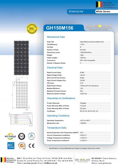 GH Solar 150W Mono-crystalline