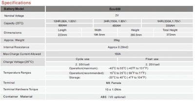 Narada 2V 600AH Cell